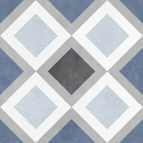 MTOE0038 Modern 9X9 Blue Gray White Diamond Porcelain Mosaic Tile