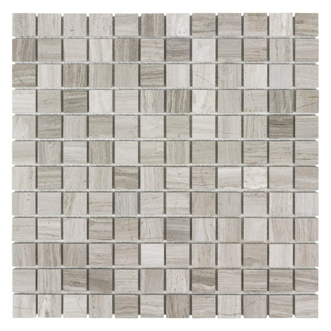 MTOP0027 Modern Square Wooden Beige Linen- Look Stone Mosaic Tile - Mosaic Tile Outlet