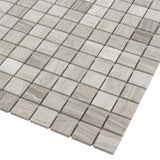 MTOP0027 Modern Square Wooden Beige Linen- Look Stone Mosaic Tile