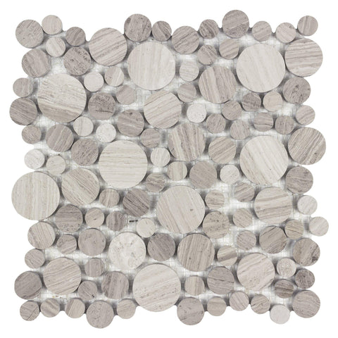 MTOP0028 Modern Multi-Size Earth tone, Beige and Gray Stone Circle Mosaic Tile - Mosaic Tile Outlet