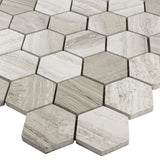 MTOP0029 Modern Wooden Beige Stone Hexagon Mosaic Tile - Mosaic Tile Outlet
