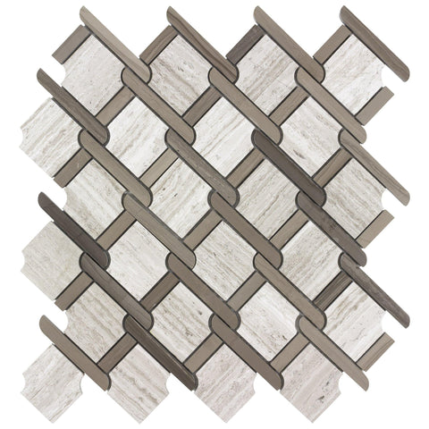 MTOP0032 Modern Brown Beige Multi-Size Linear Glass Mosaic Tile - Mosaic Tile Outlet