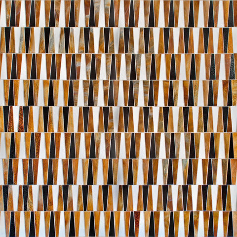 MTOT0002 Modern Trapezoid Orange White Black Metallic Handcut Glass Mosaic Tile