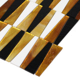 MTOT0002 Modern Trapezoid Orange White Black Metallic Handcut Glass Mosaic Tile - Mosaic Tile Outlet