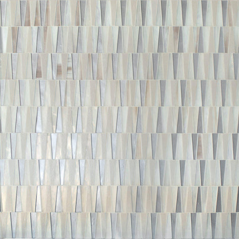MTOT0003 Modern Trapezoid Blue Gray Beige Metallic Handcut Glass Mosaic Tile