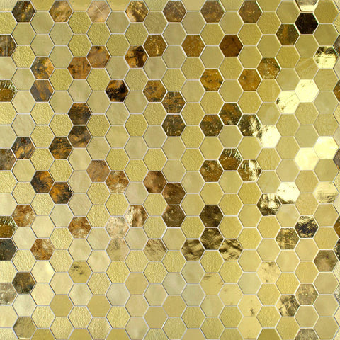 MTOT0006 Modern Hexagon Gold Metallic Handcut Glass Mosaic Tile