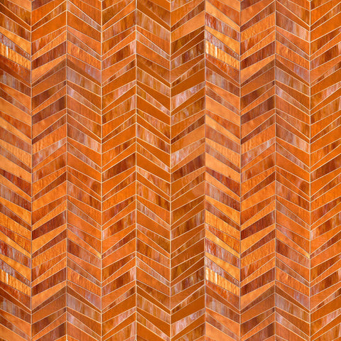 MTOT0007 Modern Staggered Herringbone Burnt Orange Handcut Glass Mosaic Tile