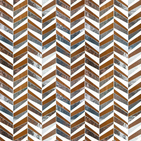 MTOT0009 Modern Staggered Herringbone Brown Silver White Handcut Glass Mosaic Tile