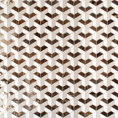 MTOT0011 Modern Hexagon 3D Cube Effect White Beige Gold Handcut Glass Mosaic Tile - Mosaic Tile Outlet