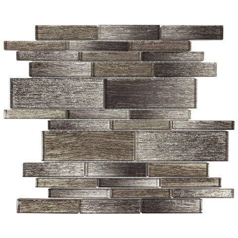 MTOW0009 Modern Linear Gray Brown Glass Mosaic Tile - Mosaic Tile Outlet