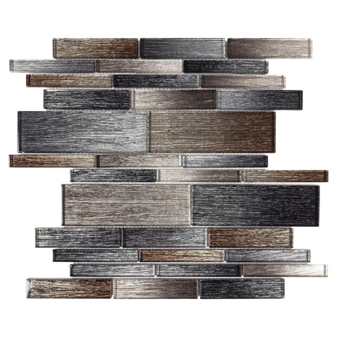 MTOW0010 Modern Brown Grey Metallic Multi-Size Linear Glass Mosaic Tile - Mosaic Tile Outlet