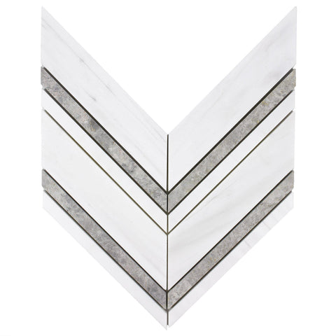 MTOW0020 Modern Linear Arrow Gray White Ceramic Mosaic Tile - Mosaic Tile Outlet
