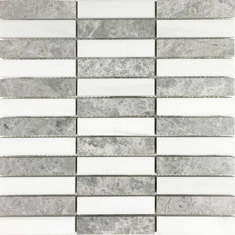 MTOW0021 Modern Linear Stacked Rectangles White Gray Marble Mosaic Tile