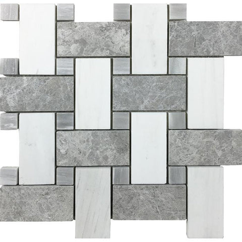 MTOW0022 Modern Basketweave Gray White Marble Mosaic Tile - Mosaic Tile Outlet