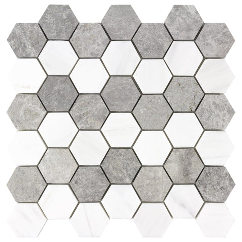 MTOW0023 Modern Hexagon White Gray Marble Mosaic Tile - Mosaic Tile Outlet