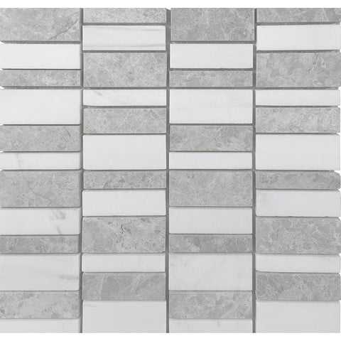 MTOW0024 Modern Staggered Rectangles White Gray Marble Mosaic Tile - Mosaic Tile Outlet