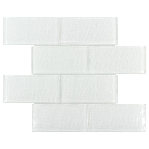 MTOW0025 Modern 3 X 6 Subway White Glossy Glass Mosaic Tile - Mosaic Tile Outlet