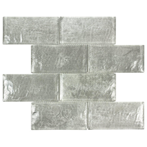 MTOW0026 Modern 3 X 6 Subway Gray Glossy Glass Mosaic Tile