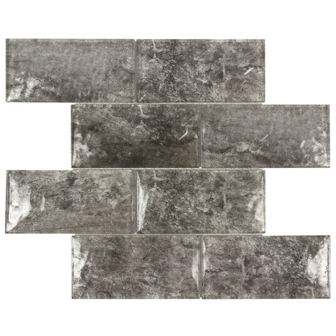 MTOW0027 Modern 3 X 6 Subway Gray Bown Glossy Glass Mosaic Tile