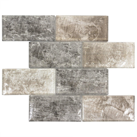 MTOW0028 Modern Subway Beige Gray Glossy Glass Mosaic Tile - Mosaic Tile Outlet
