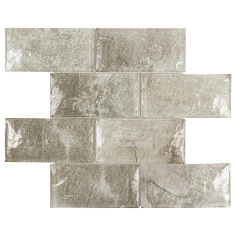 MTOW0029 Modern Subway Brown White Glossy Glass Mosaic Tile - Mosaic Tile Outlet