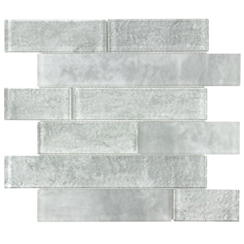 MTOW0031 Modern Linear Subway Gray Crackled Glossy Glass Mosaic Tile - Mosaic Tile Outlet