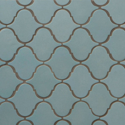 MTOZ0015 Modern Arabesque Blue Matte Ceramic Mosaic Tile