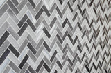 Kitchen Backsplash Close Up Modern Herringbone Grey White Metallic Glossy Frosted Metallic Glass Metal Tile