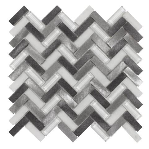 Front Modern Herringbone Grey White Metallic Glossy Frosted Metallic Glass Metal Tile