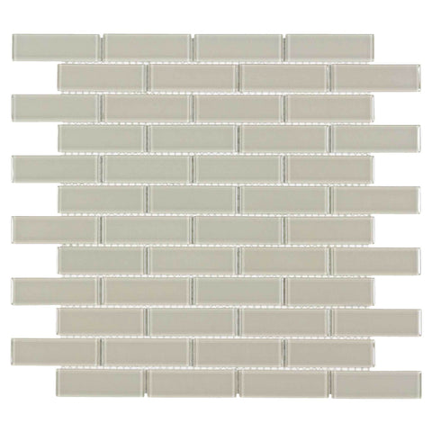 MTO0071 Modern 1X3 Linear Brick Beige Glossy Glass Mosaic Tile - Mosaic Tile Outlet