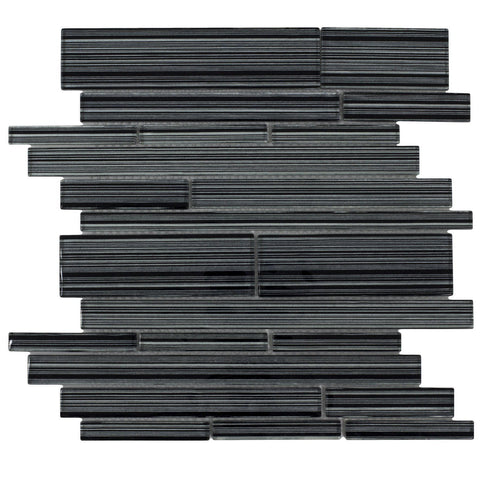 MTO0016 Modern Linear Black Hand painted Silver Glossy Glass Mosaic Tile - Mosaic Tile Outlet