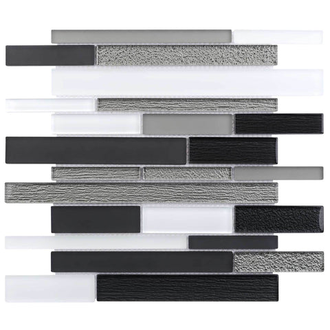 MTO0013 Modern Linear Silver Black Gray White Glossy Glass Mosaic Tile - Mosaic Tile Outlet