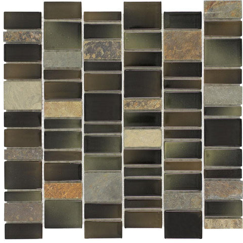 Front Modern Linear Brown Black Charcoal Glossy Glass Stone Tile