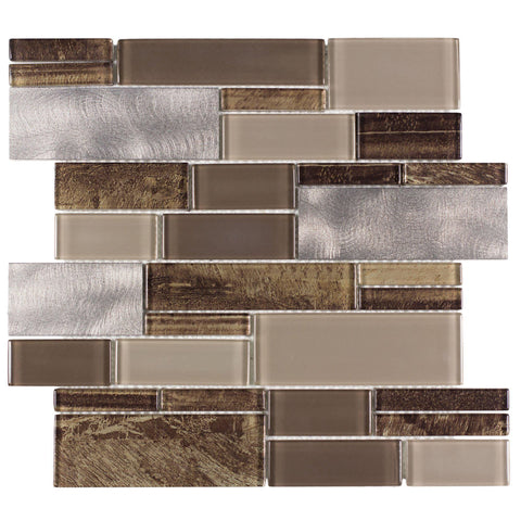MTO0005 Modern Linear Brown Gray Glossy Glass Metal Mosaic Tile - Mosaic Tile Outlet