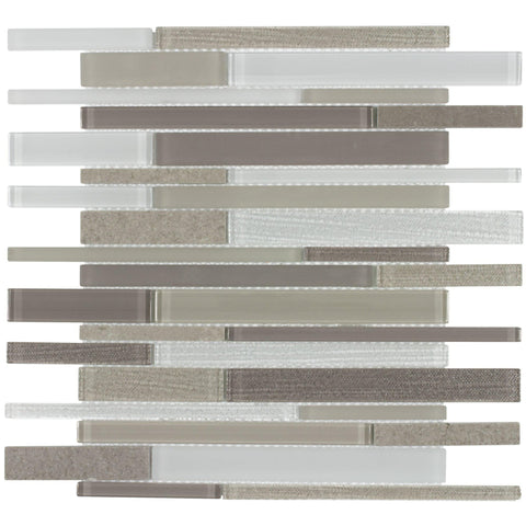 MTO0003 Modern Linear Textured Earth Tones Linen-look Glass Stone Mosaic Tile - Mosaic Tile Outlet