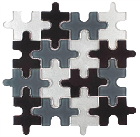 MTO0045 Contemporary Puzzle Pieces Black Gray White Glossy Glass Mosaic Tile - Mosaic Tile Outlet