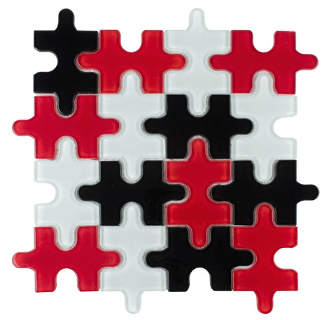MTO0046 Contemporary Puzzle Pieces Black Red White Glossy Glass Mosaic Tile - Mosaic Tile Outlet