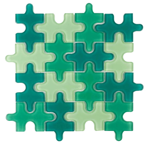 MTO0047 Contemporary Puzzle Pieces Green Glossy Glass Mosaic Tile - Mosaic Tile Outlet