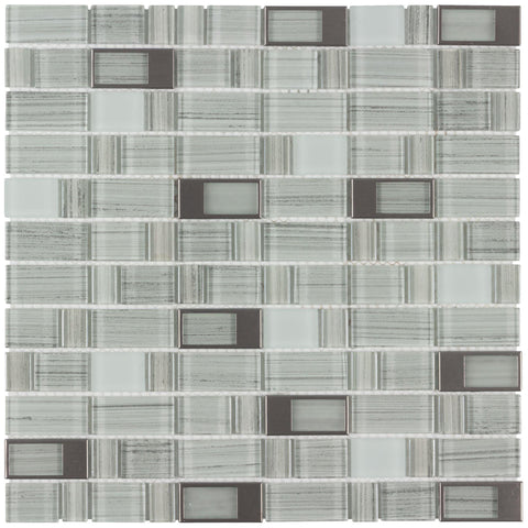 MTO0009 Modern Rectangles Gray Glossy Glass Metal Mosaic Tile - Mosaic Tile Outlet