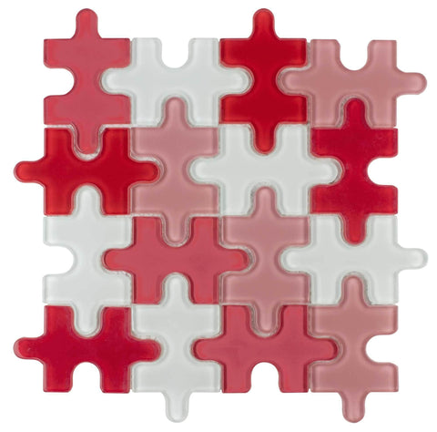 MTO0048 Contemporary Puzzle Pieces Red White Glossy  Glass Mosaic Tile - Mosaic Tile Outlet