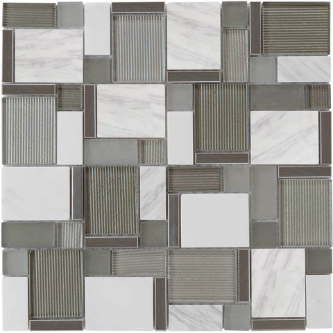 MTO0002 Modern Modular Silver Glossy Glass Marble Mosaic Tile - Mosaic Tile Outlet