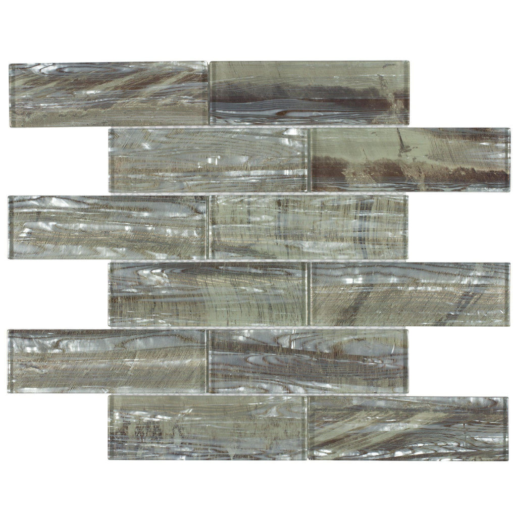 Sample Green Brown Crackle Glass Subway Mosaic Tile: MTO0006 Modern 2X6 Brick Mother Of Pearl Glossy Glass