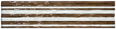 MTO0036 Modern 3X12 Subway Brown White Glossy Glass Murano Tile - Mosaic Tile Outlet