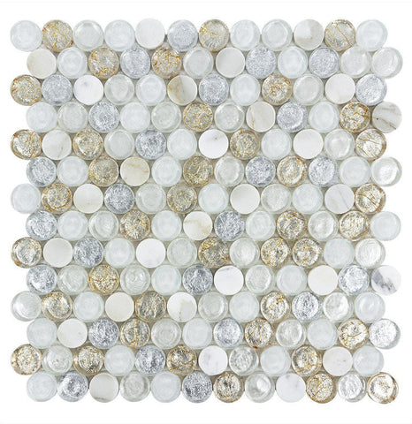 "MTO0518 Modern 1"" Penny Round White Gray Copper Metallic Glossy Glass & Stone Mosaic Tile - Mosaic Tile Outlet"