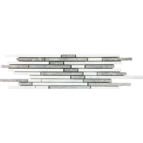 MTOW0018 Modern Linear Sticks Grey White Sticks Domolite Marble Mosaic Tile - Mosaic Tile Outlet