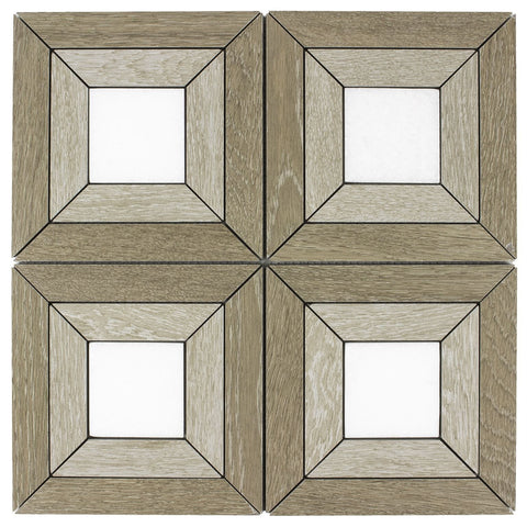 MTOW0046 Classic Ceramic Brown Beige White Wooden look Sqaures Mosaic Tile - Mosaic Tile Outlet