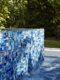Pool Angle Modern French Pattern Blue Glossy Glass Mosaic Tile
