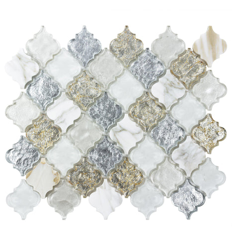 MTO0488 Classic 2X2 Arabesque White Silver Gold Metallic Glossy Glass Stone Mosaic Tile - Mosaic Tile Outlet