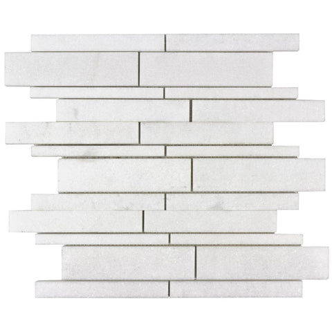 MTOW0038 Modern Linear Glazed White Stone Mosaic Tile - Mosaic Tile Outlet