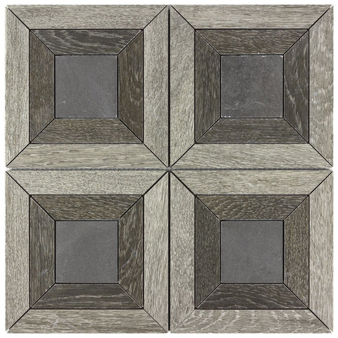 MTOW0045 Classic Ceramic Beige, Brown, Gray Wooden look Squares Mosaic Tile - Mosaic Tile Outlet